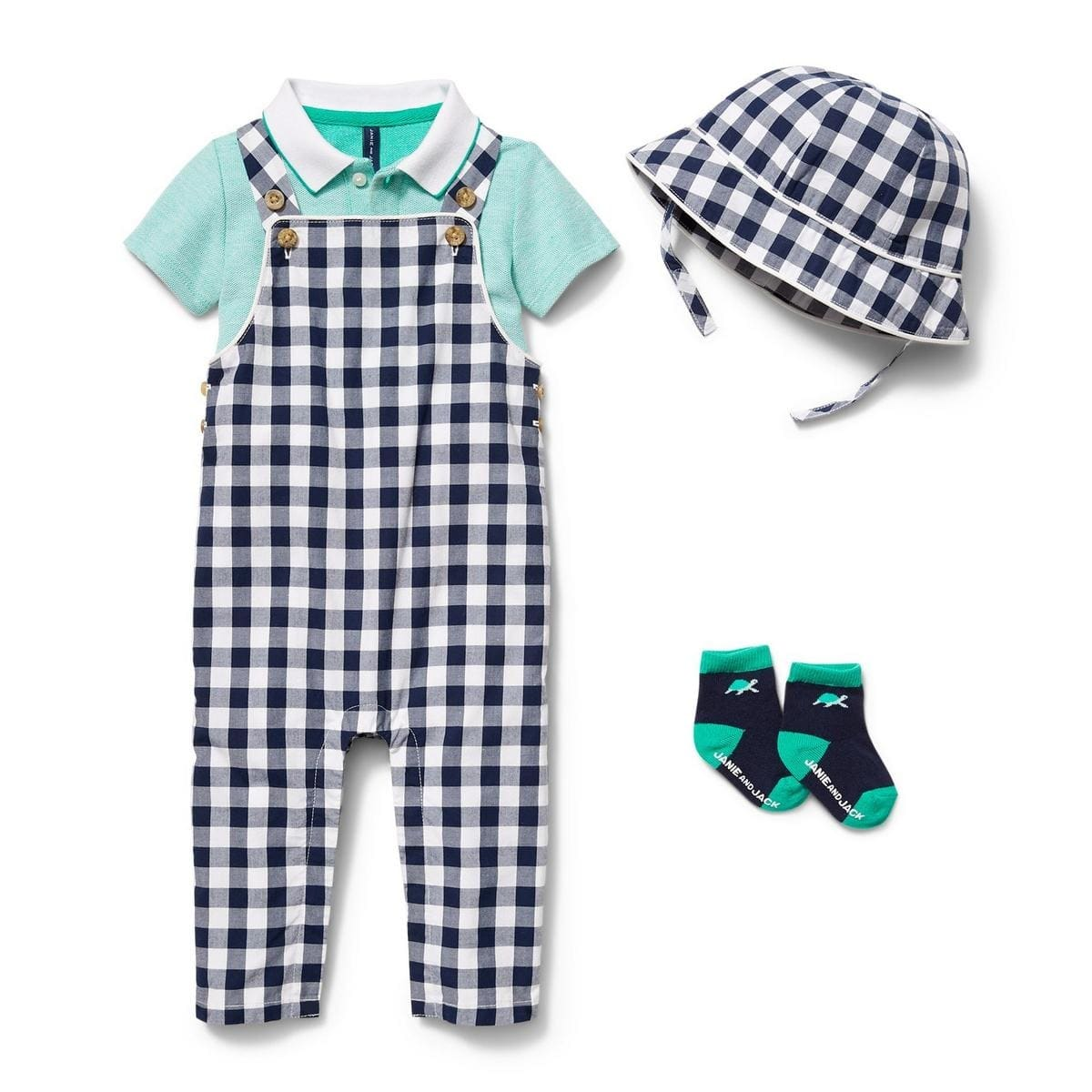 Janie & Jack: Up to 70% Off + FS (Ends 9/3): Baby Gingham Hat $5.60, Boys' Linen Shirts $8.80 & More