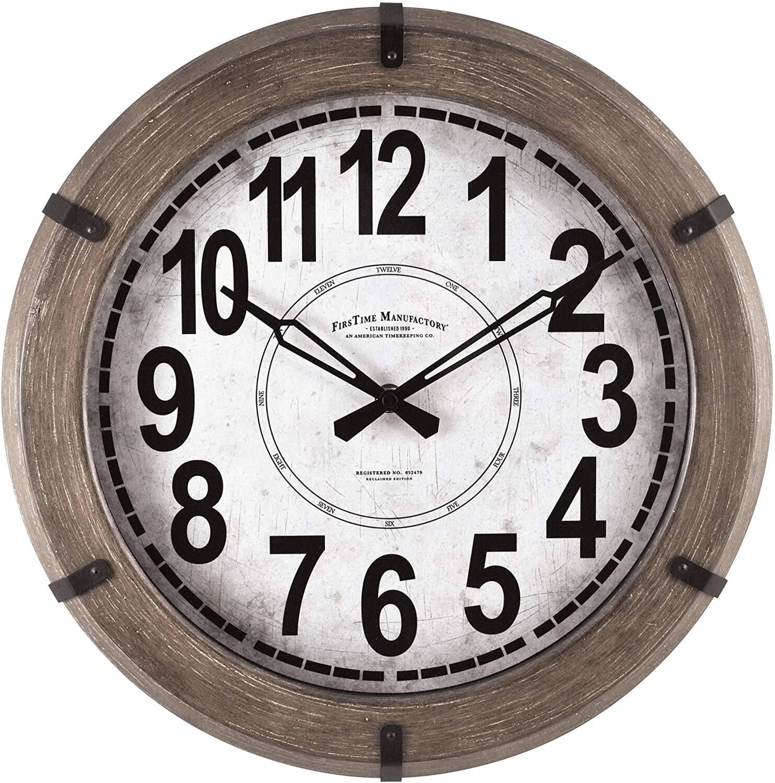 "FirsTime & Co. 14"" Modern Rustic Wall Clock $5.20 + FS w/ Prime"