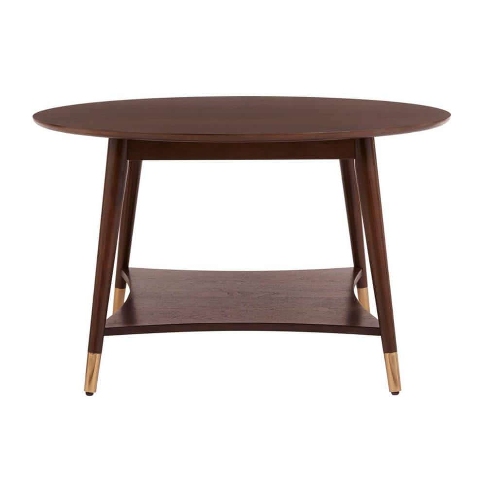 "Ramsey 31.9"" x 18.9"" H Round Wood Coffee Table w/ Brass Capped Legs $89.50 + Free S/H"