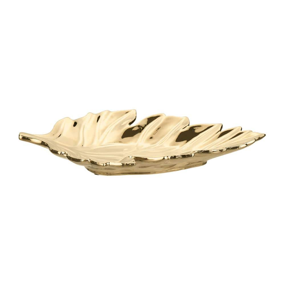 Home Decorators Collection Gold Ceramic Decorative Leaf Tray $18 + Free S/H