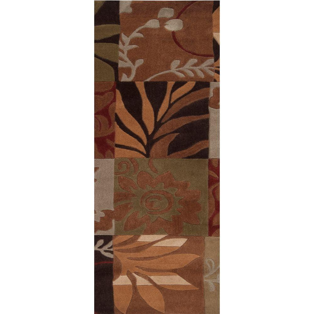 Artistic Weavers 3' x 8' Equinox Rust & Green Runner Rug $28.80 + Free S/H