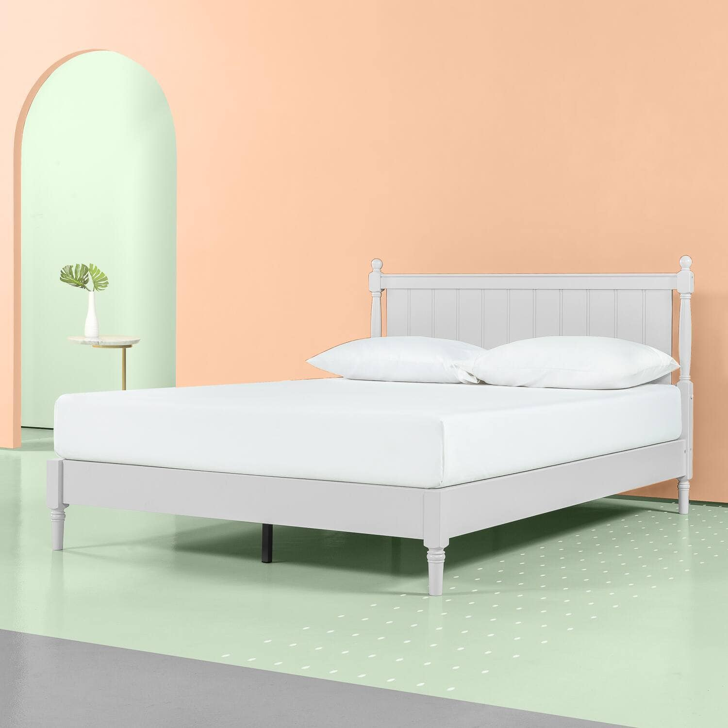 ZINUS Provence Wood Platform Bed with Panel Headboard, Pale Grey from $156.24 + Free S/H