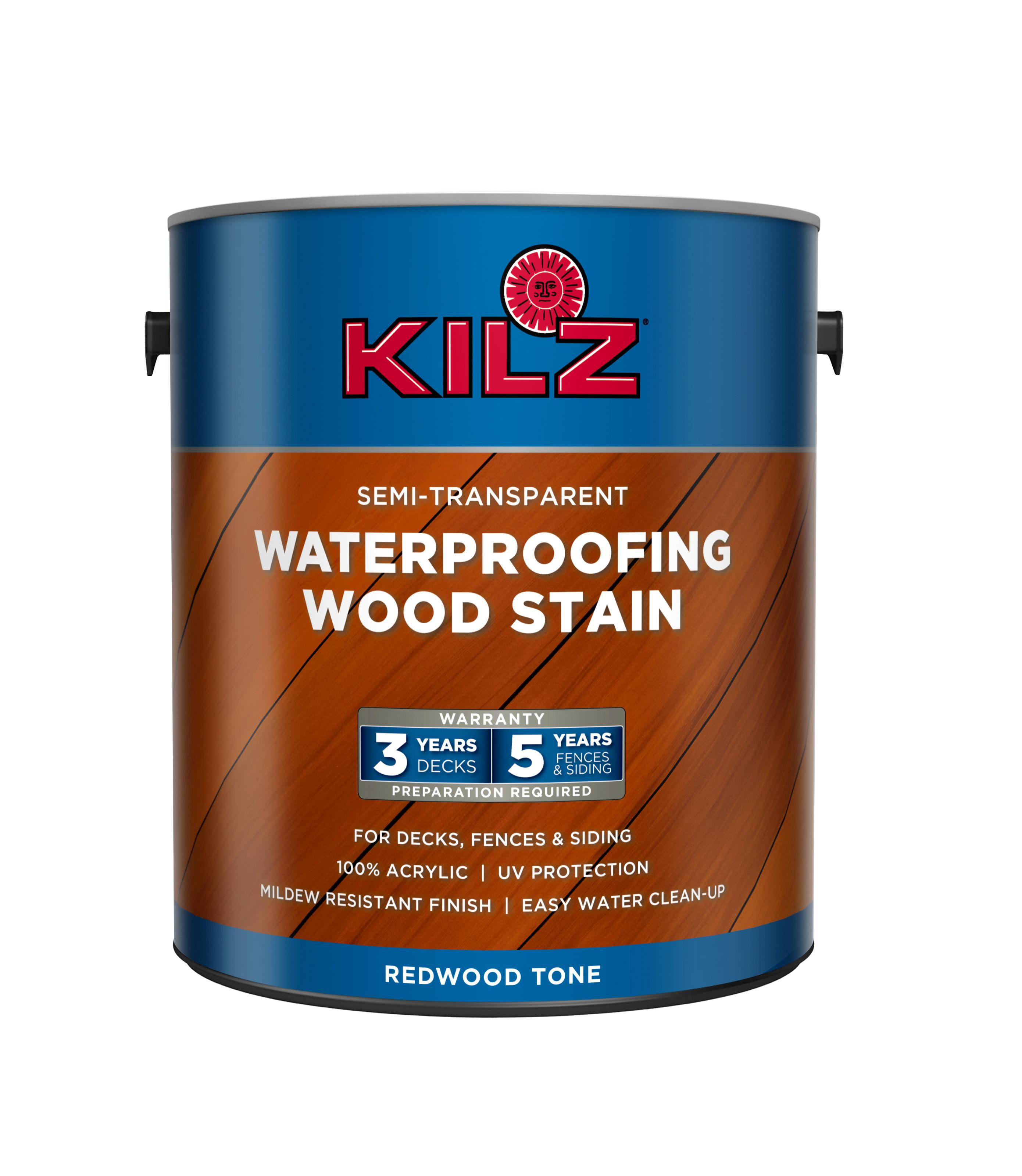 1-Gallon KILZ Exterior Waterproofing Wood Stain, Semi-Transparent, Redwood $15 + FS w/ Prime