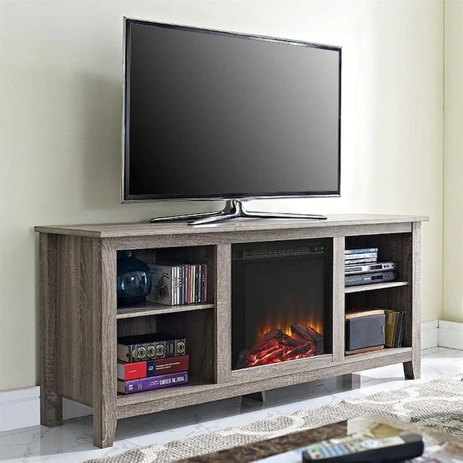 Up to 30% Off Walker Edison Electric Fireplace TV Stands at Lowe's: 58-Inch Driftwood $250 & More + Free Shipping **Valid 10/22