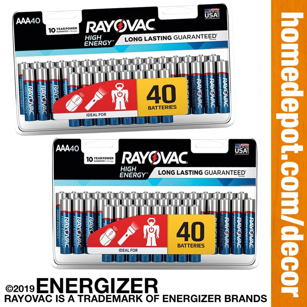 40-Pack RAYOVAC by Energizer High Energy Alkaline AA or AAA Batteries $5.88 [$0.15 per Battery] at Select Home Depot Stores