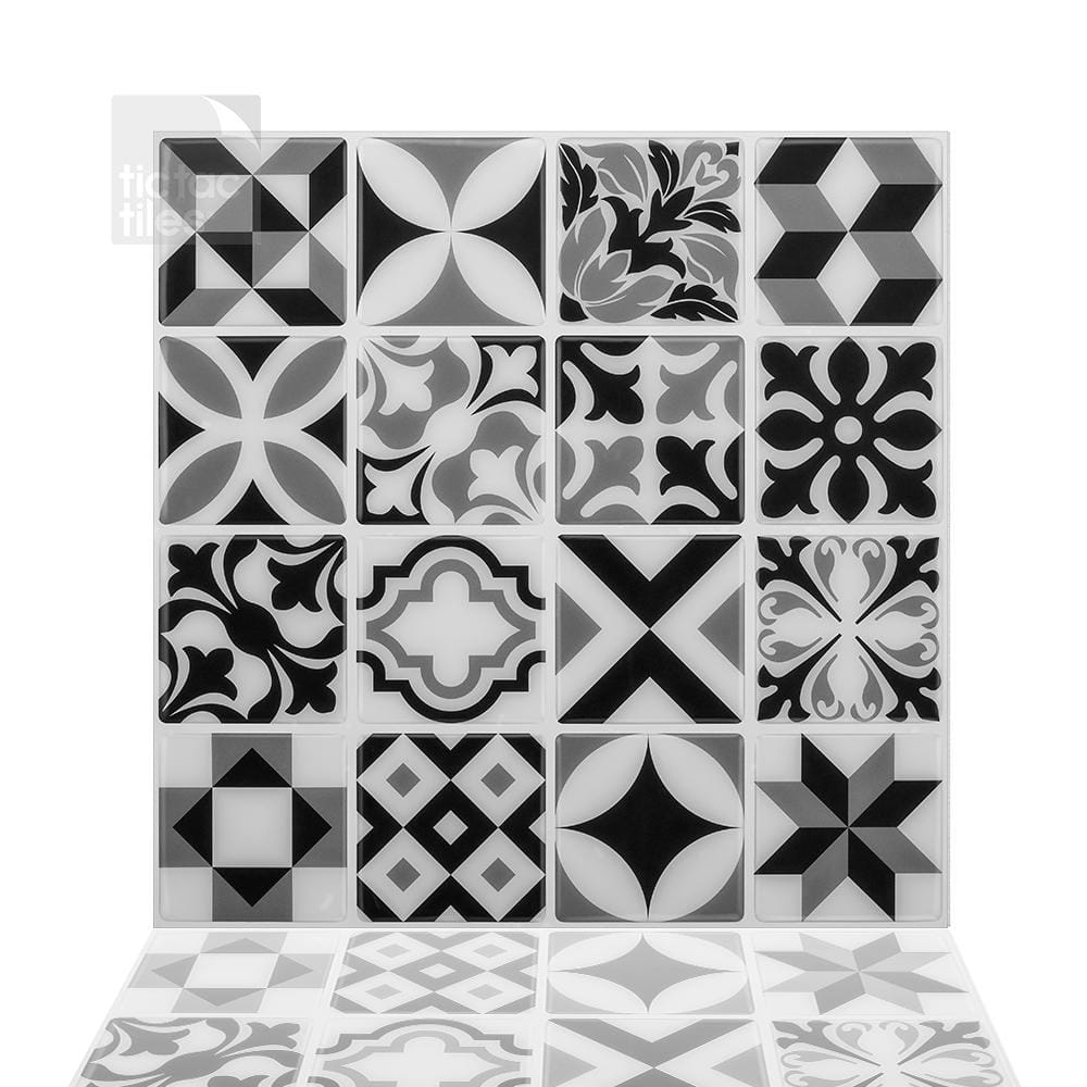 """10-Pack Tic Tac Peel & Stick Tile: 10 W x 10"""" H Moroccan Mono $25, 12 W x 12"""" H Como Crema $34 at Home Depot + Free Curbside Pickup"""