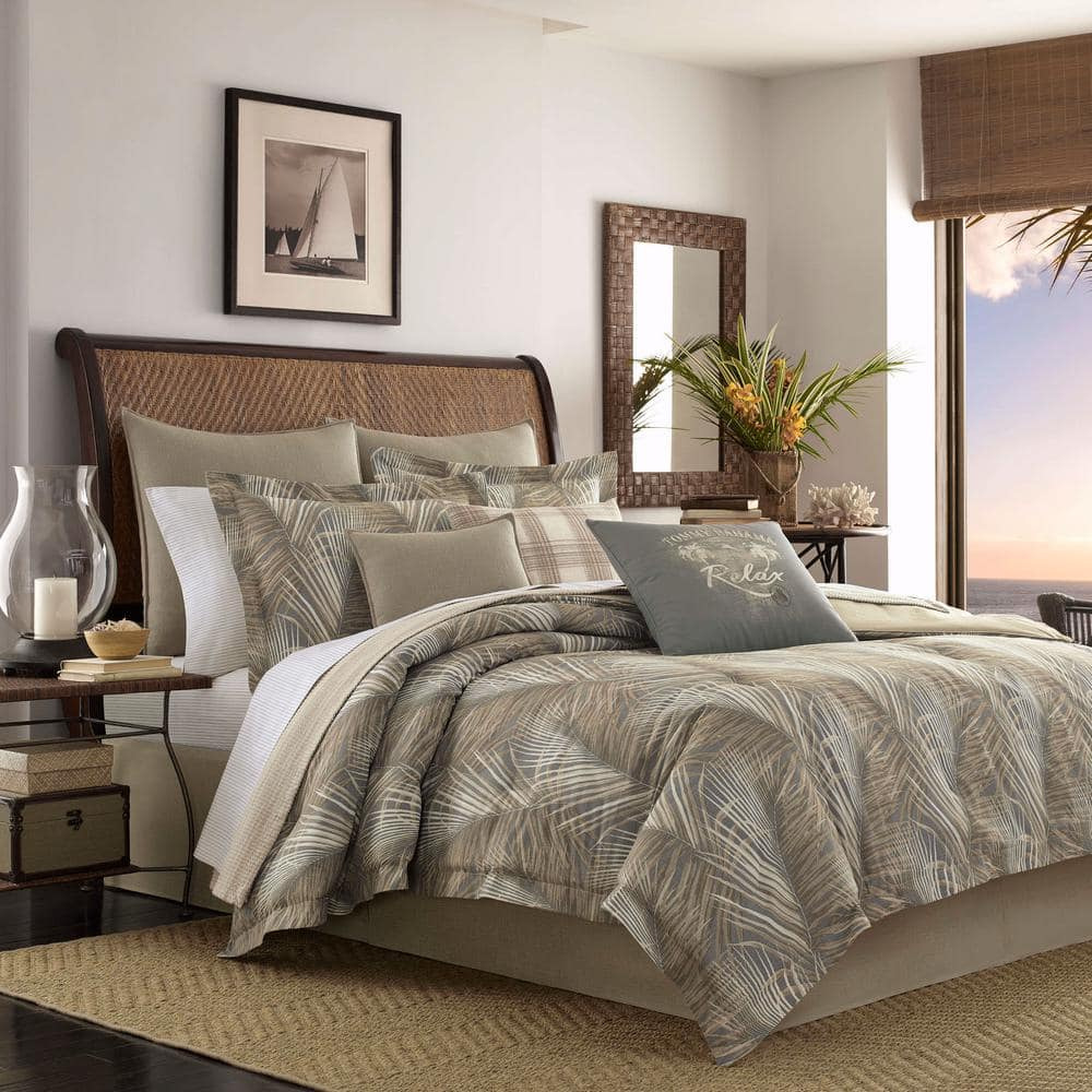 Tommy Bahama | 4-Pc Queen Raffia Palms Brown Cotton Comforter Set $99.99 + Free S/H