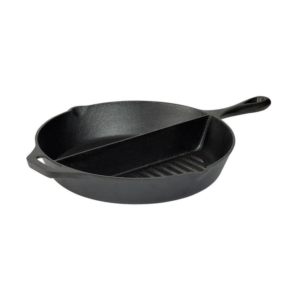 """Basic Essentials 13.5"""" Cast Iron 2-Section Pre-Seasoned Grill/Griddle w/ Assist Handle $12.94 at Home Depot"""