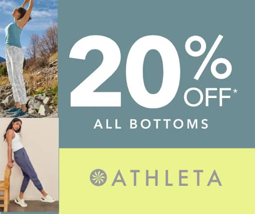 ATHLETA: Extra 20% Off Bottoms + Extra 20% Off $150+ | Brooklyn Wide Leg Crop Pant $24 & Athleta Girl Tights & Joggers $24 + Free Curbside Pickup / FS on $40+
