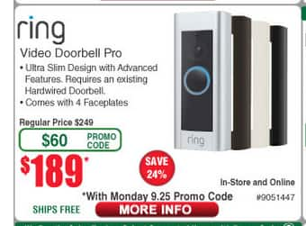 Ring Video Doorbell Pro - Fry's $189 w/email code from Monday 9/25, Sunday 10/1