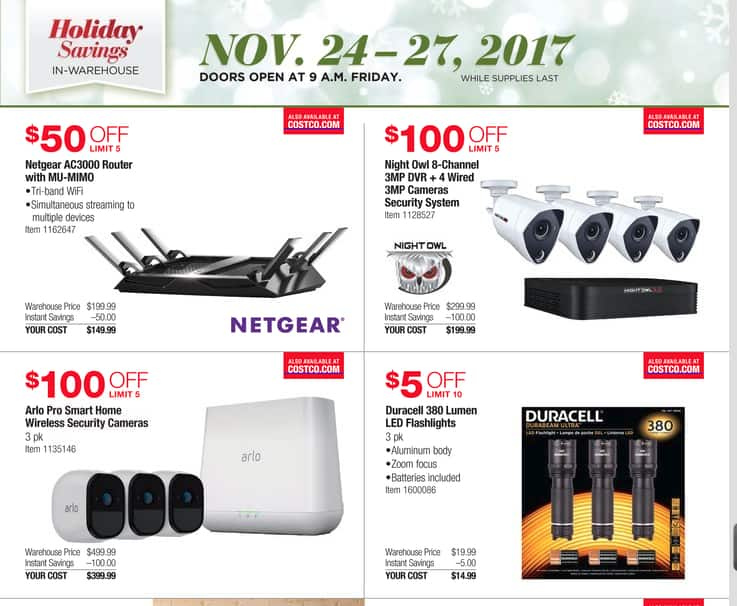 Night Owl 8 Channel 3MP DVR + 4 3MP cameras at Costco Nov 24-27 2017 / Black Friday $199.99