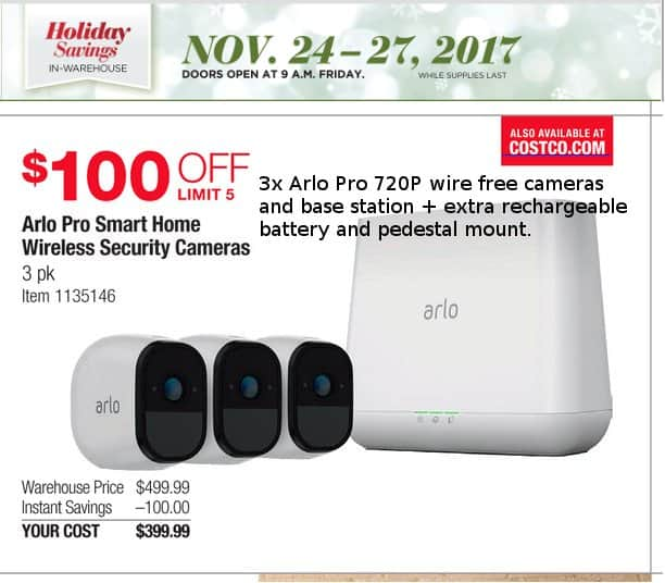Arlo Pro kit 3 Cameras and Base Station at Costco Nov 24-27