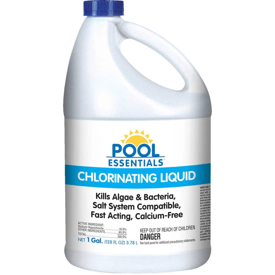 Pool Essentials Chlorinating Liquid (Bleach, double strength) readily available at Walmart $3.64.  For disinfecting