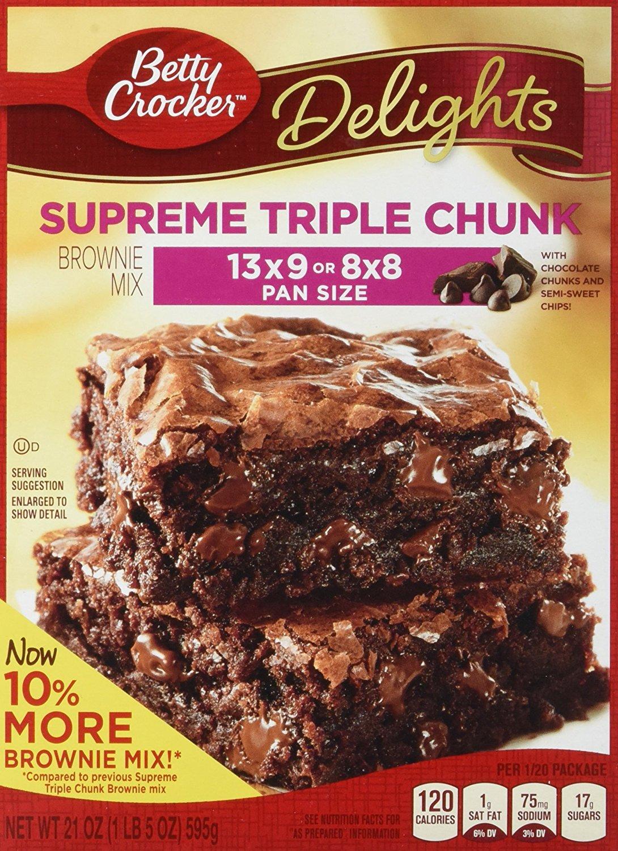 Betty Crocker Delights, Supreme Triple Chunk Brownie Mix, 21 Oz Box (Pack of 8) $10.46