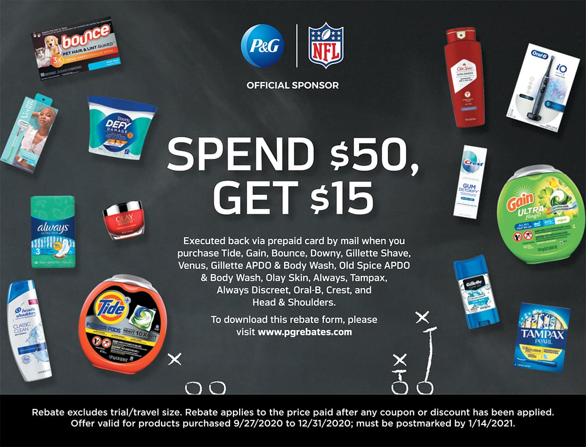 Get a $15 VISA prepaid card when you spend $50 on select P&G products!