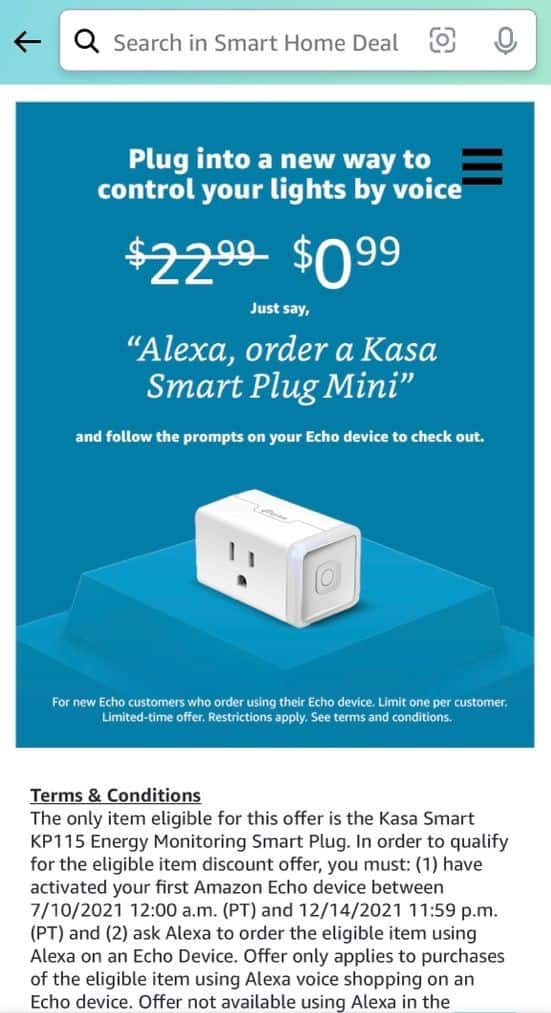 YMMV Targeted promo for Amazon Prime Customer only - Kasa Smart Plug Mini with Energy Monitoring smart home outlet for $0.99