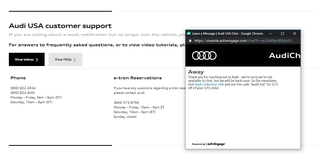 Audi Collection USA - Audi Store YMMV $15 off $75 coupon