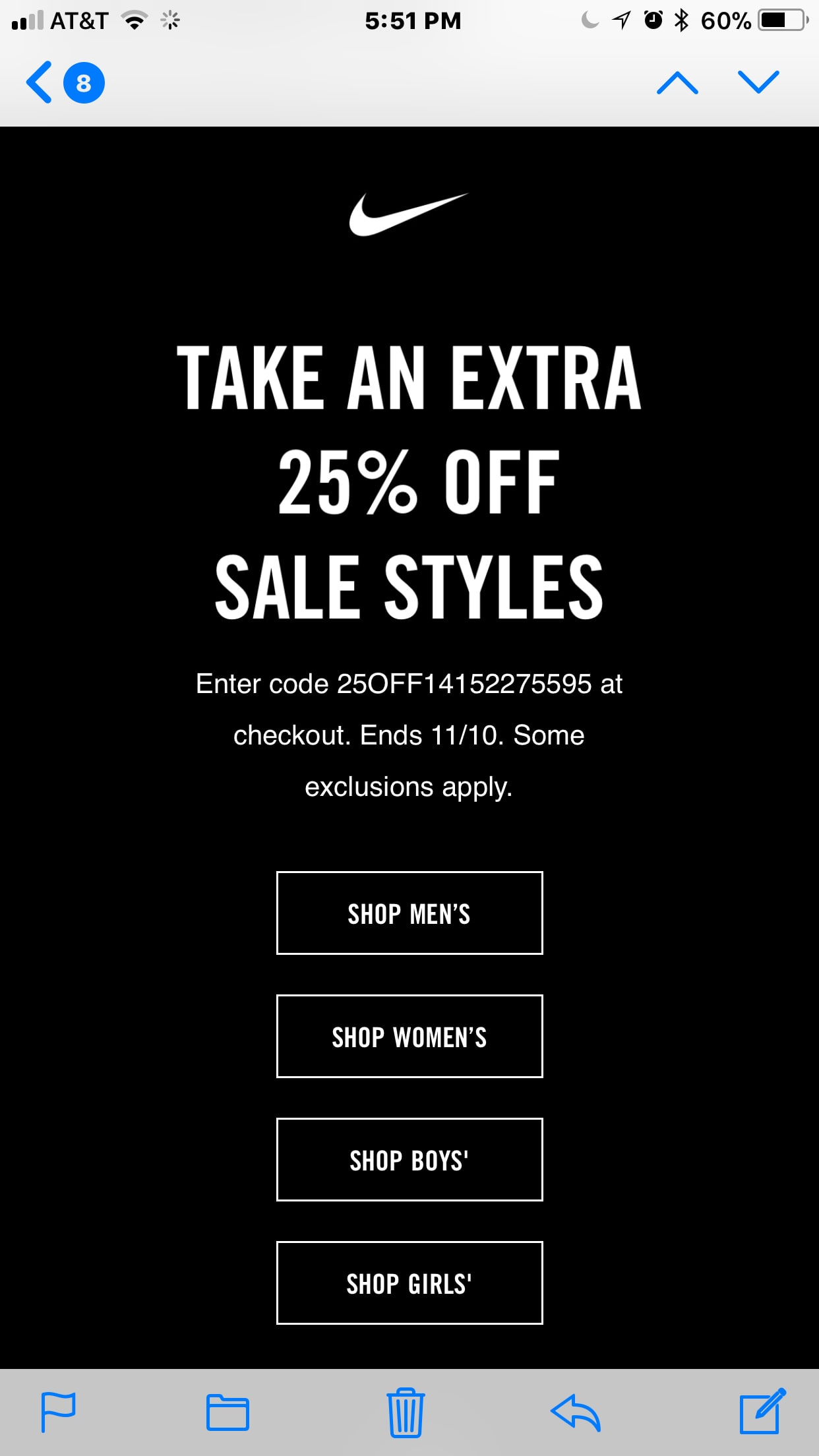 EXTRA 25% off SALE ITEM EMAIL with one time use code FROM NIKE.COM  (YMMV)