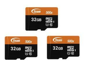 $12.49 3-pack Team 32GB microSDHC UHS-I/U1 Class 10 Memory Card with Adapter, Speed Up to 80MB/s NewEgg.com free shipping
