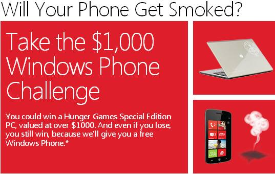"FREE $25 GC to Microsoft Store if you own a working Smartphone (Android, Blackberry, iPhone, PalmOS, WebOS, some Symbian) - B&M Only ""Smoked by Windows Phone"" thru May 10, 2012"
