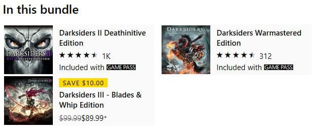 Darksiders Collection (DS1 + DS2 + preorder for DS3 deluxe w/all DLC) on Xbox Store for $39.99 - Price Mistake