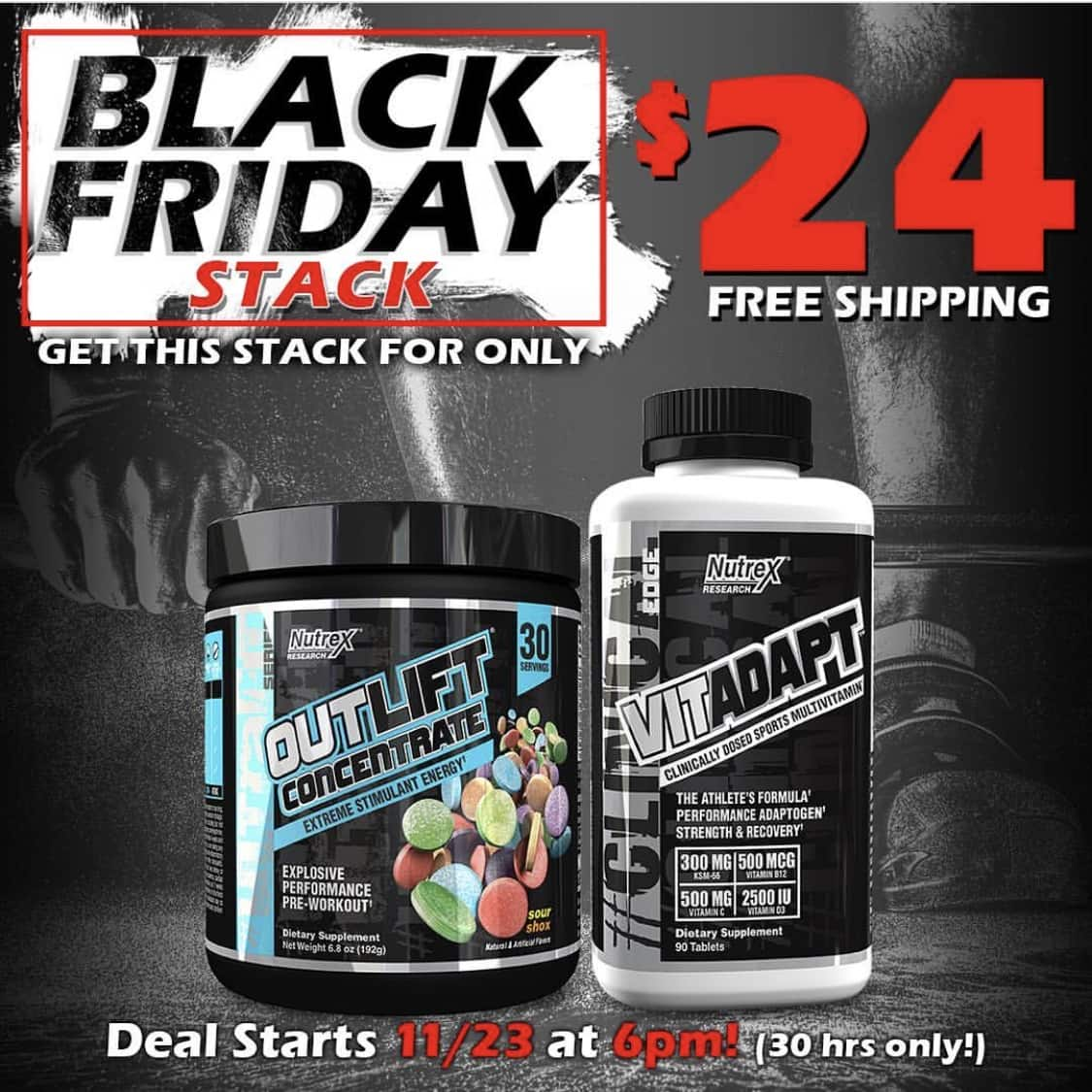 Nutrex Pre-Workout OUTLIFT Concentrate and Multivitamin VITADAPT $24 Plus Free Shipping