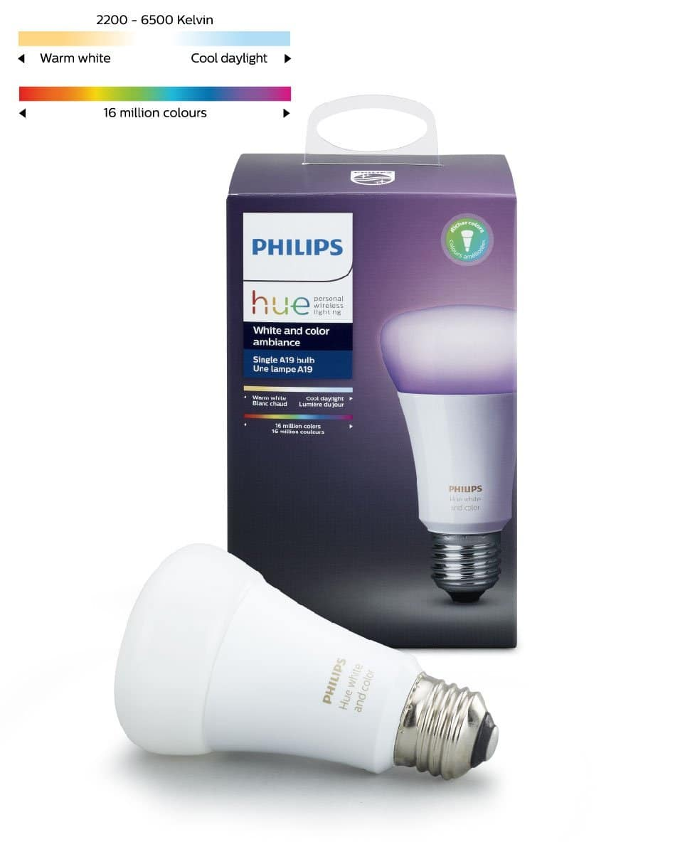 Prime Members: Philips Hue White and Color Ambiance A19 60W Equivalent Dimmable LED Smart Bulb $36.99