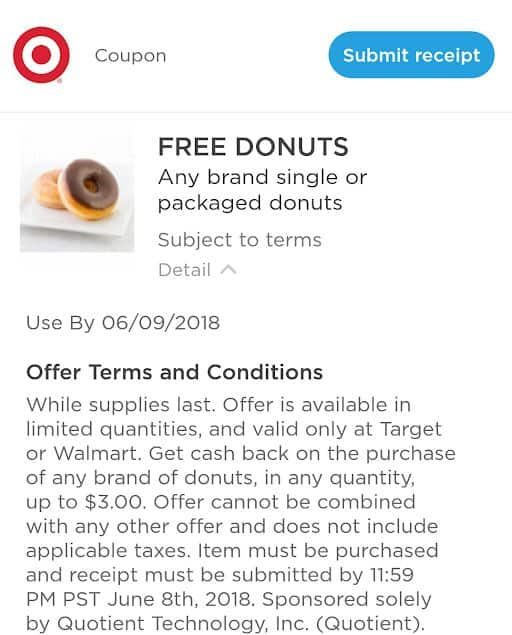 Target - free donuts after coupons.com app rebate