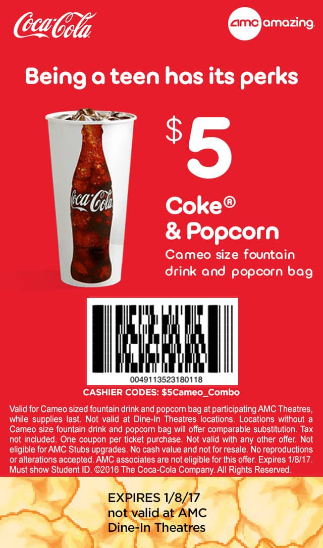 Cameo Size Fountain Drink and Popcorn Bag ~ $5 w/ Coupon & Student ID @ AMC Theatres ~ Ends 1/8/17
