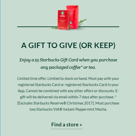 Get $5 Starbucks GC w.y.b. Any Packaged Holiday Coffee or Tea @ Starbucks