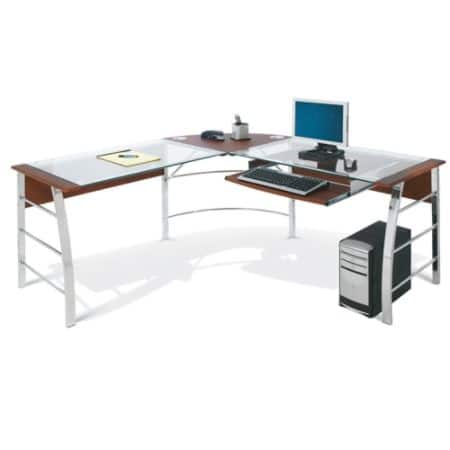 Realspace Mezza Office Furniture (Cherry/Chrome or Black/Chrome) ~ L-Shaped Glass Computer Desk $100 w/ FS or $94 w/ Store Pickup, Bookcase $68, Mobile File $56 @ OfficeDepot.com