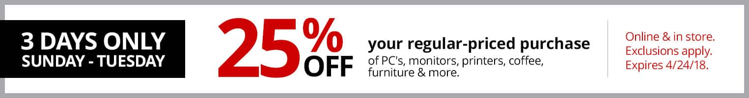 Office Depot OfficeMax Coupon: 25% Off Qualifying Regular Priced Purchase ~ Includes Tech Items ~ Online & In Store ~ Expires 4/24/18