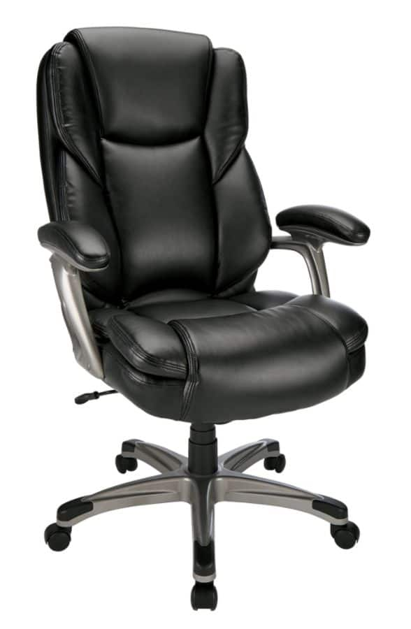 Reale Cressfield High Back Bonded Leather Chair Black Silver Or Brown
