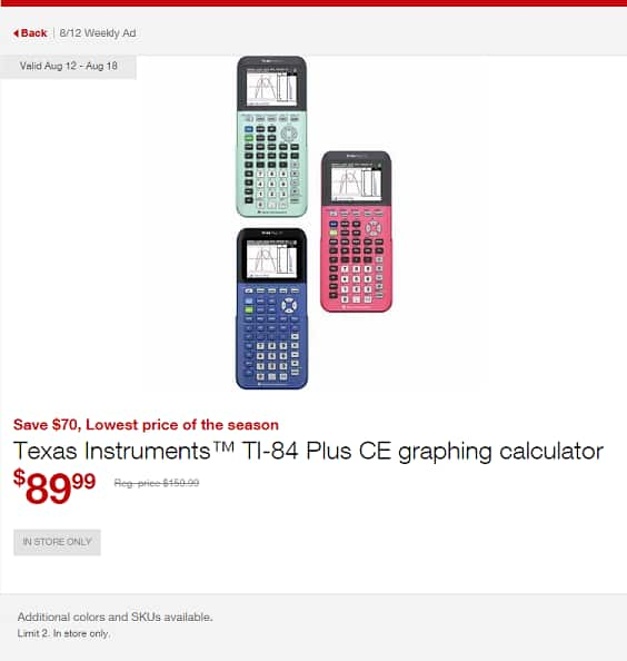 Texas Instruments TI-84 Plus CE graphing calculator ~ $90 @ Staples B&M ~ Ends 8/18/18