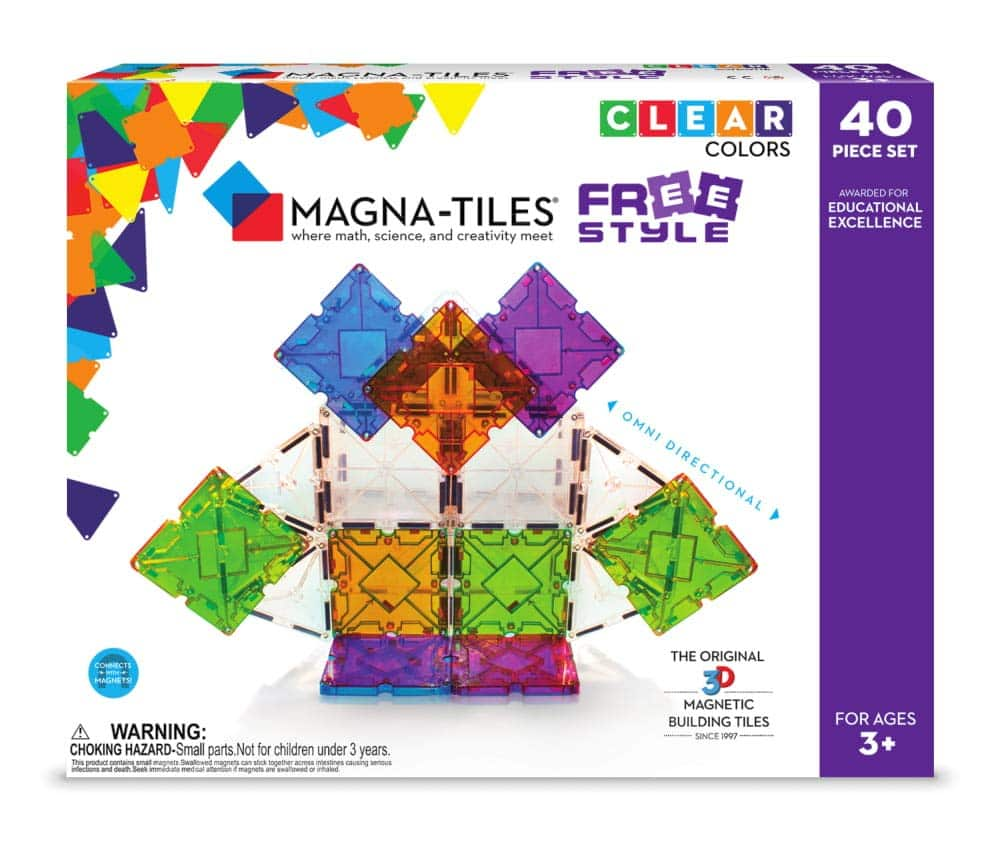 Magna Tiles Freestyle Set, The Original, Award-Winning Magnetic Building Tiles, Creativity & Educational, Stem Approved, Clear Colors & Translucent $59.99