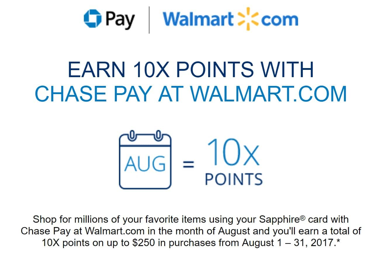 Earn 10x Points With Chase Pay At Walmart (ymmv, Sapphire And Freedom  Unlimited So Far)  Slickdeals