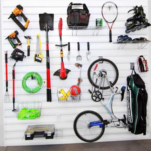 Proslat Wall Storage Ultimate Bundle, 64 sq. ft., 25-piece Hooks & Accessories for $250 $249.99