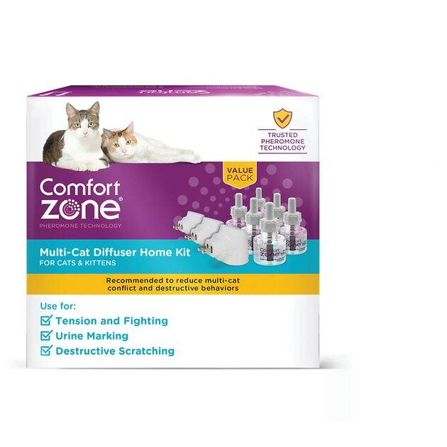 Comfort Zone 2X Pheromone Diffuser kit for cats, 3 diffusers & 6 refills $33.23 w/ FS at Chewy.com (like Feliway)