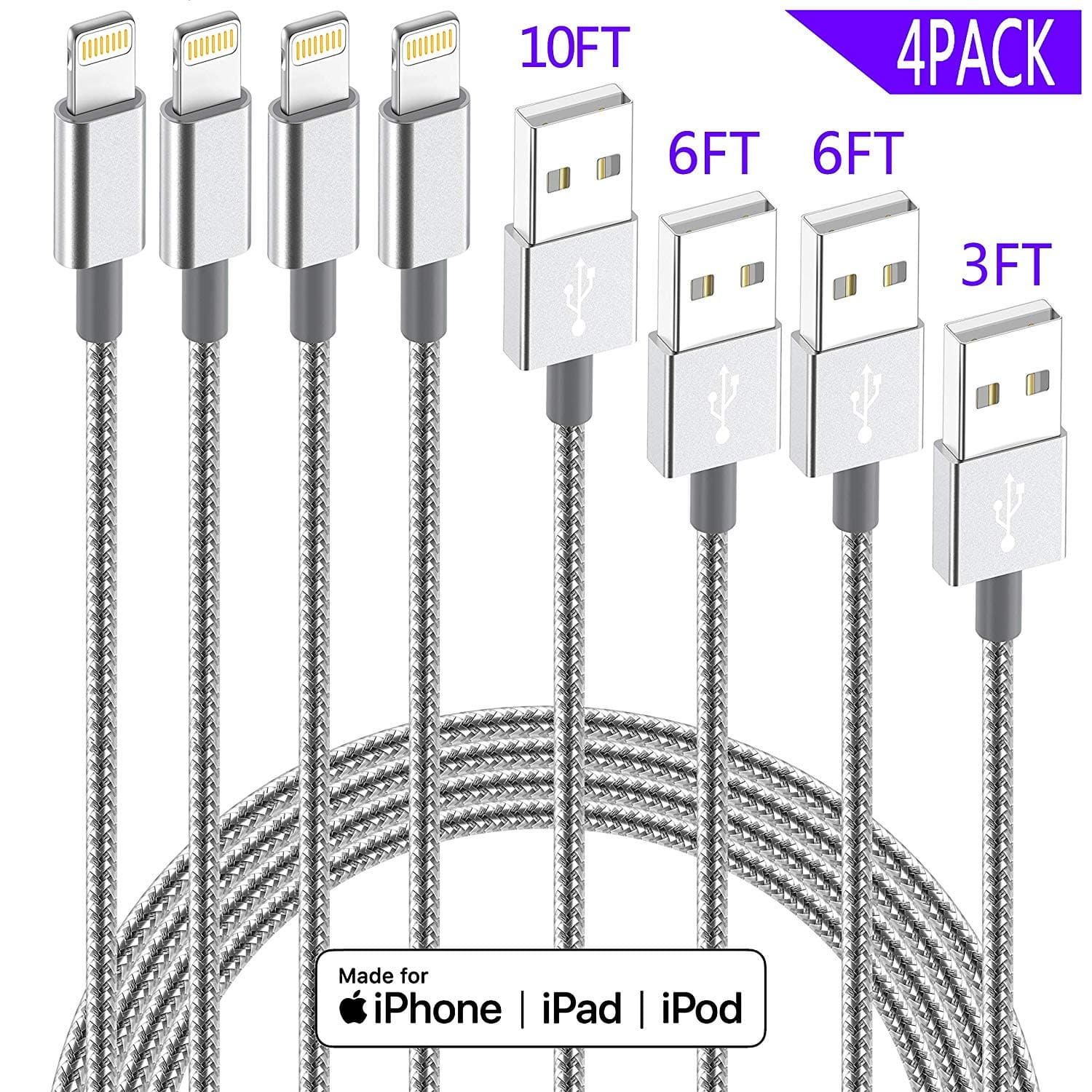 IDiSON 4Pack(10ft 6ft 6ft 3ft) iPhone Lightning Cable Apple MFi Certified $8.84 AC