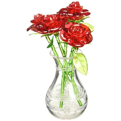 Bepuzzled Original 3D Crystal Jigsaw Puzzle - Red Roses in Vase DIY Assembly Brain Teaser Fun Model Toy Gift Flower Decoration for Adults & Kids Age 12+ , 44 Pieces (Level 2) $6.49