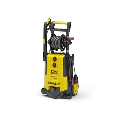 Stanley SHP2000 2000 PSI, 1.4GPM, Electric Power Washer, Spray Gun, Wand, 30 Foot High Pressure Hose, 35 Foot Power Cord, Detergent Tank, 4 Nozzles & Working Hose Reel $134