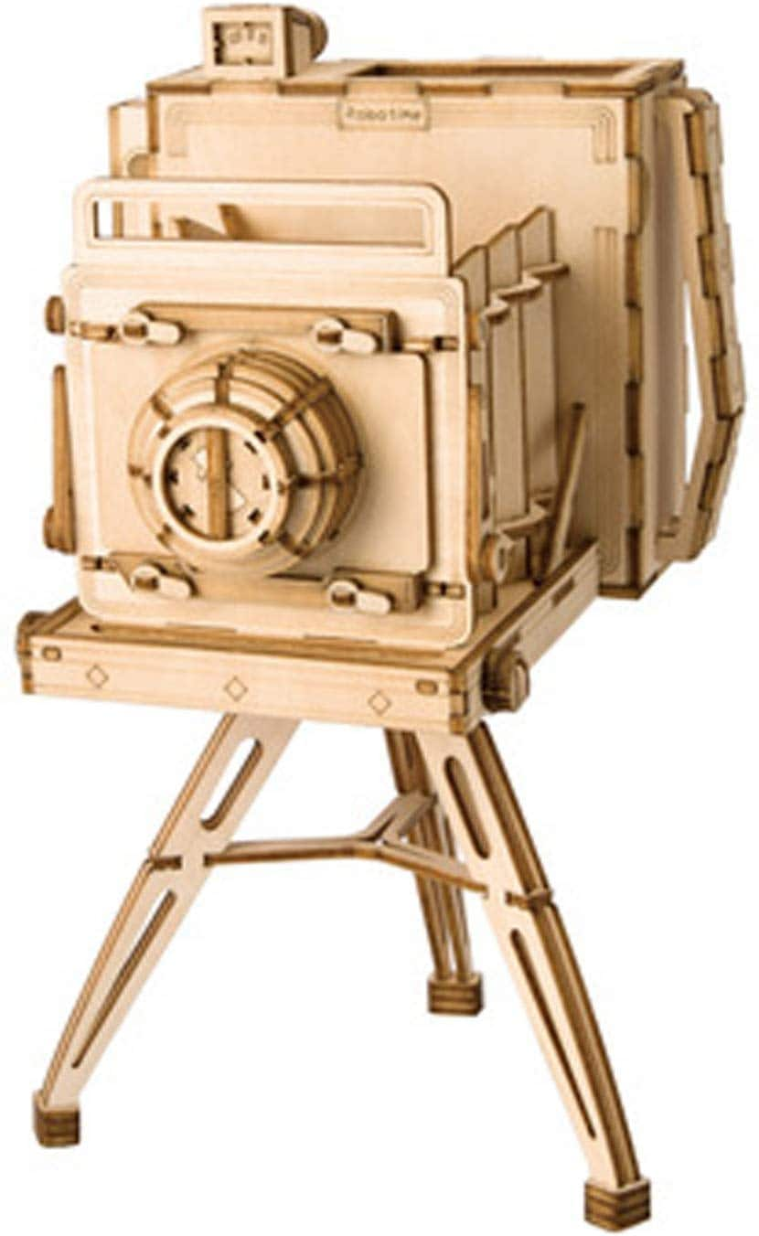 Robotime Various 3D Wooden Craft Kits - Vintage Camera, Music Box Kit 3D, Music Box Wooden Craft Kit Robot Machinarium Toy with Light, Treasure Box - $4.20 AC