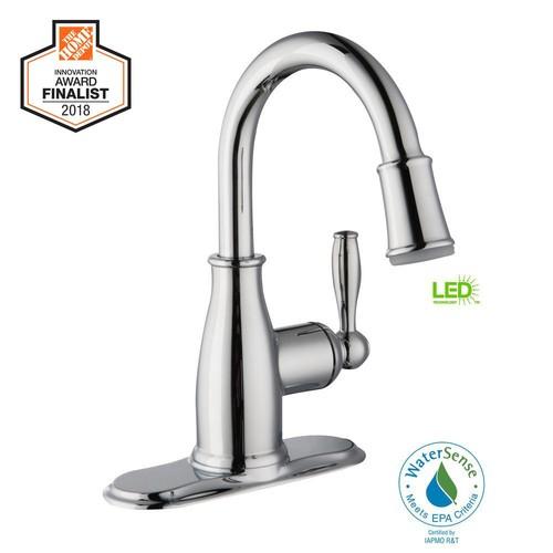 Mandouri Single Hole Single-Handle LED High-Arc Bathroom Faucet in Chrome - Home Depot $47.01