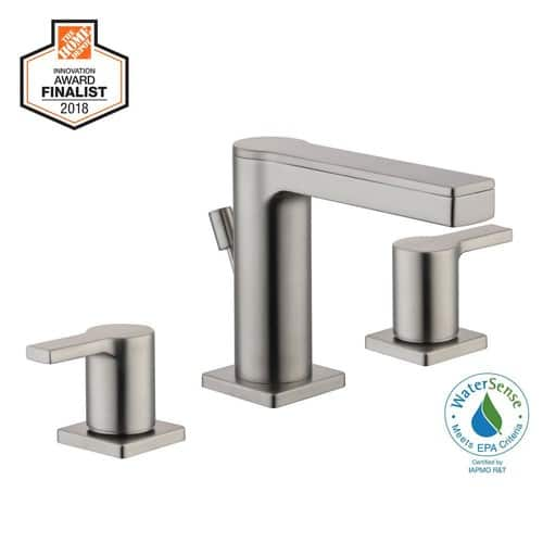 Modern Contemporary 8 in. Widespread 2-Handle Low-Arc Bathroom Faucet in Brushed Nickel - Home Depot $81.27