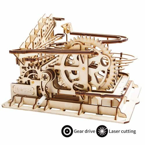 ROBOTIME 3D Wooden Laser-Cut Puzzle DIY Assembly Craft Kits Waterwheel Coaster with Steel Balls Best Birthday Gifts for Adults and Kids Age 14 + $30.09