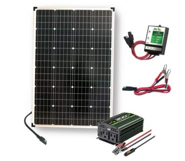 110-Watt Polycrystalline Solar Panel, 300-Watt Power Inverter, 11 Amp Charge Controller (and others) $103.87