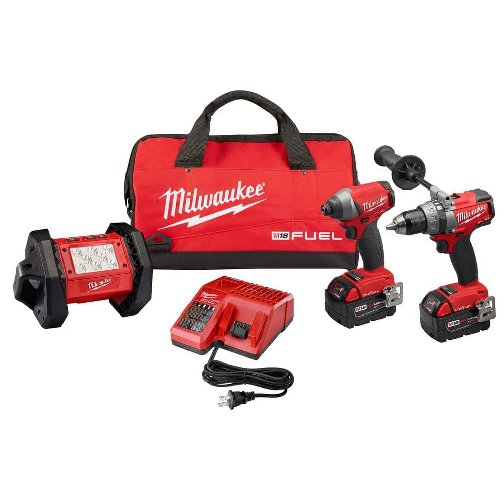 Milwaukee M18 FUEL ONE-KEY Brushless Cordless Combo Kit (3-Tool) w/(2) 5.0Ah & (1) 9.0Ah Batteries, LED Floodlight, Charger, (1) Tool Bag $380