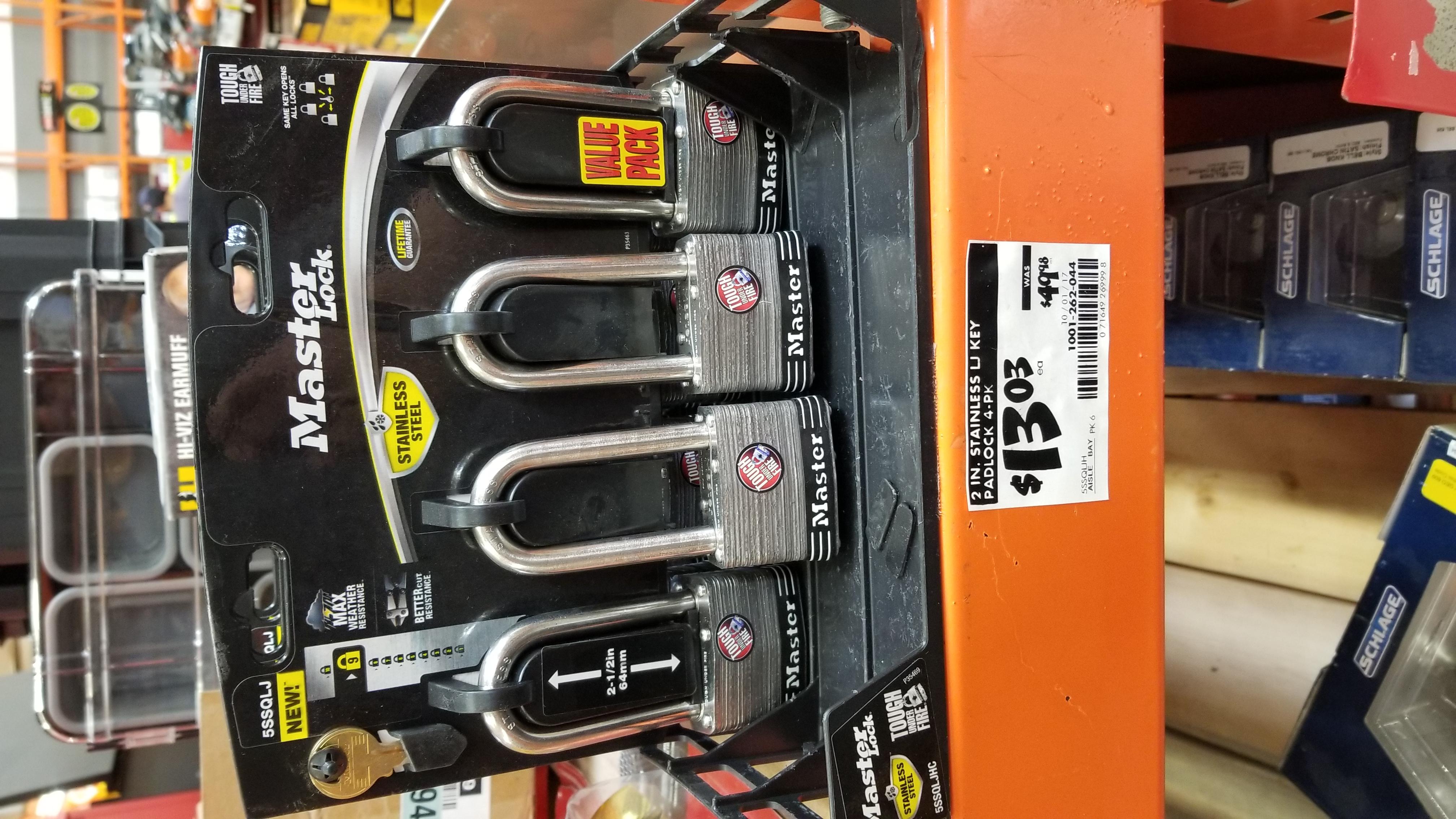 Master Lock Padlock, SS 2 in. Wide, 5SSQLJ (Pack of 4-Keyed Alike) Clearance $13.03 (Reg. 49.98) Home Depot B&M YMMV