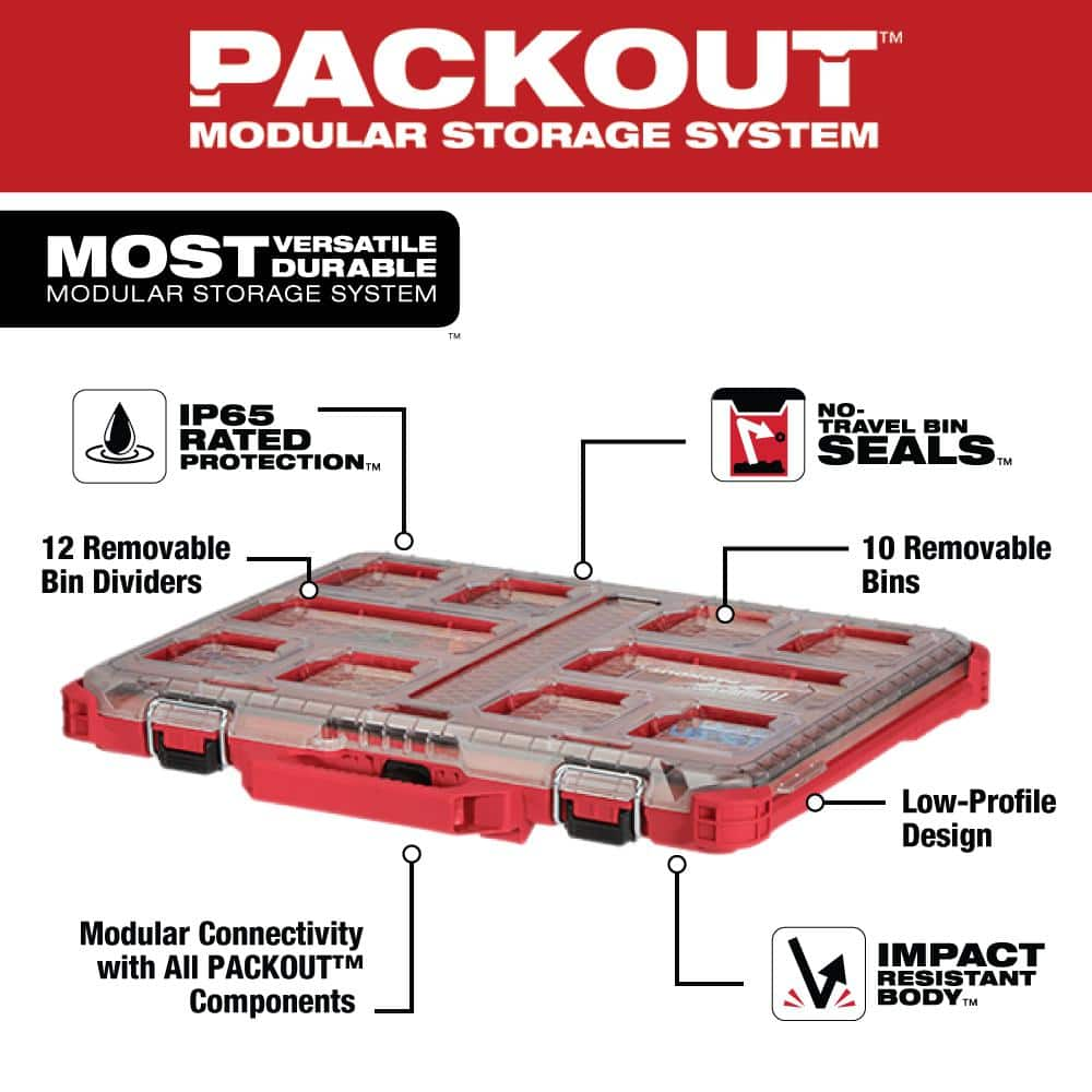 Milwaukee PACKOUT 11-Compartment Low-Profile Small Parts Organizer (48-22-8431), $29.99 @ Grainger
