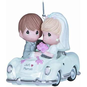 """Precious Moments Christmas Gifts: """"Just Married"""" Bisque Porcelain Ornament  $8"""
